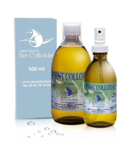 Argent Colloidal - Flacon 500ml 15PPM + Spray 250ml 10PPM